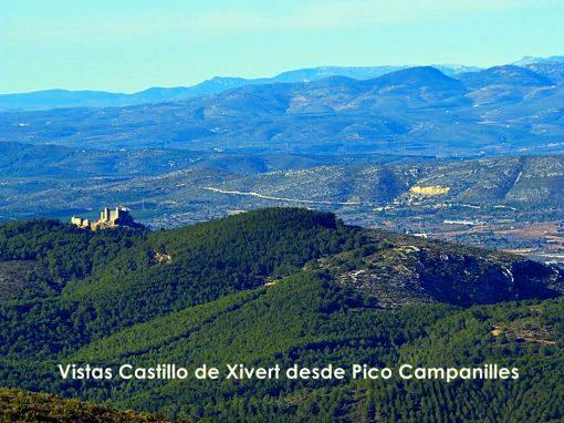 Vistas Castillo de Xivert desde Pico Campanilles